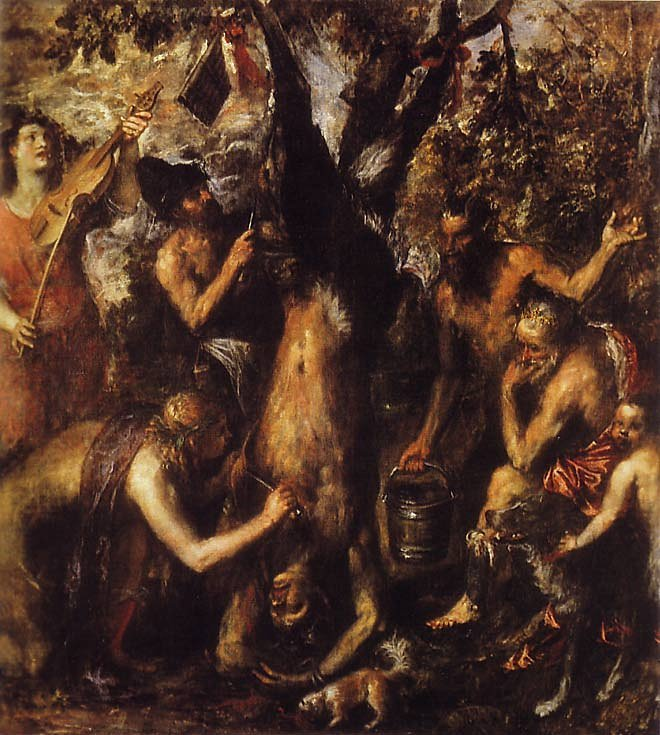 Titian, The Flaying of Marsyas, oil, c. 1570–1576.