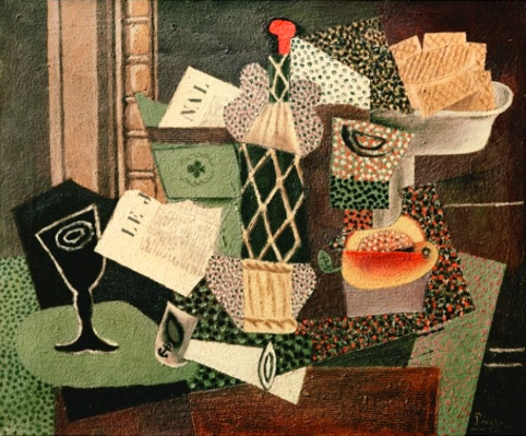 Picasso-still-life-with-a-bottle-of-rum-1914